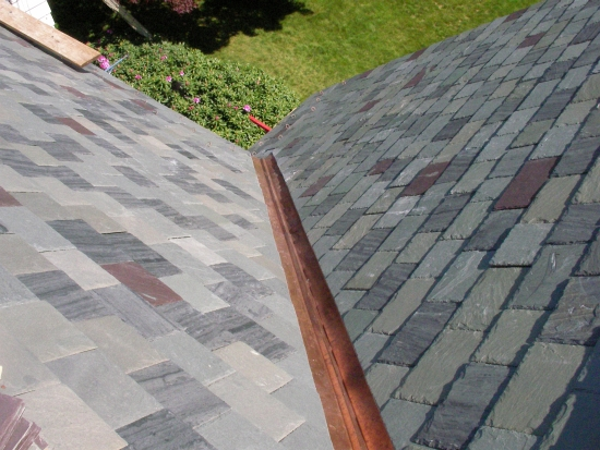 AZ Best Roofing self-sustainable slate roof w open copper valley Darien CT